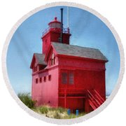 Holland Harbor And Big Red Round Beach Towel