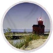 Holland Harbor Light  Round Beach Towel