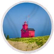 Holland Harbor Lighthouse Mi Round Beach Towel