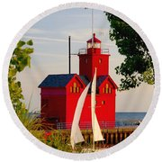 Holland Lighthouse Round Beach Towel