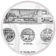 Holland Tunnel Construction Round Beach Towel
