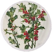 Holly Round Beach Towel by Alice Bailly