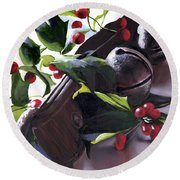 Holly And Bells Round Beach Towel