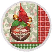 Holly And Berries-b Round Beach Towel