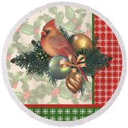 Holly And Berries-c Round Beach Towel