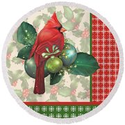 Holly And Berries-d Round Beach Towel