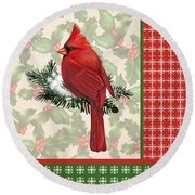 Holly And Berries-e Round Beach Towel