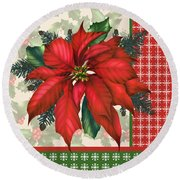 Holly And Berries-h Round Beach Towel