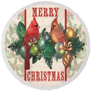 Holly And Berries-i Round Beach Towel