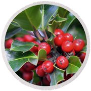 Holly Berries 2 Round Beach Towel