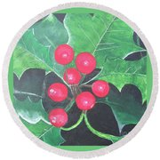 Holly Berries Round Beach Towel