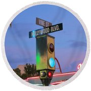 Hollywood And Vine Round Beach Towel