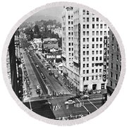 Hollywood And Vine In La Round Beach Towel