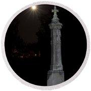 Hollywood Cemetery Moon Rise Round Beach Towel