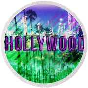 Hollywood Day And Night Round Beach Towel