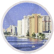 Hollywood In Florida Round Beach Towel
