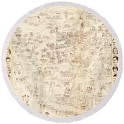 Hollywood Star Map Golden Age Celebrities 1937 Round Beach Towel