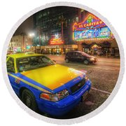 Hollywood Taxi Round Beach Towel