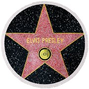 Hollywood Walk Of Fame Elvis Presley 5d28923 Round Beach Towel