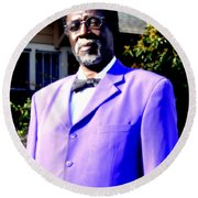 Hollywood Wearing His Dress Suit And Bow Tie Color Photo Usa Round Beach Towel