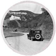 Hollywoodland Round Beach Towel