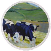 Holstein Friesian Cows Round Beach Towel