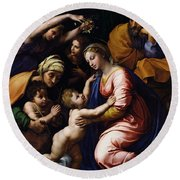 Holy Family Known As The Grande Famille Of Francois I, 1518 Oil On Canvas Round Beach Towel