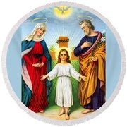 Holy Family With Cross Round Beach Towel