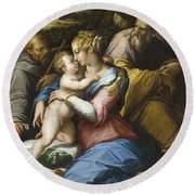 Holy Family With Saint Francis In A Landscape Round Beach Towel