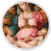 Holy Family With The Infant Saint John The Baptist And Saint Francis Round Beach Towel by Giorgio Vasari