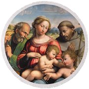 Holy Family With The Infant St. John The Baptist And St. Francis Round Beach Towel