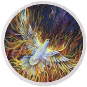 Holy Fire Round Beach Towel by Nancy Cupp