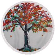 Homage To Autumn Round Beach Towel
