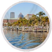 Home And Water And City Round Beach Towel