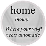 Home And Wifi Round Beach Towel