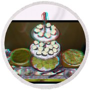 Home For The Holidays - Use Red-cyan 3d Glasses Round Beach Towel