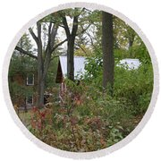 Home In The Woods Round Beach Towel