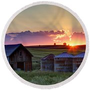 Home Town Sunset Round Beach Towel