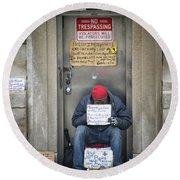 Homeless In The Usa Round Beach Towel