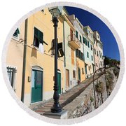 Homes In Bogliasco Round Beach Towel