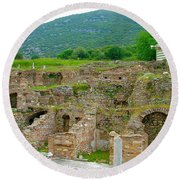 Homes Of The Rich In Central Ephesus-turkey Round Beach Towel