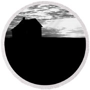 Homestead Series In Silhouette Round Beach Towel