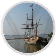 Homesteaders Sailing Ships Round Beach Towel