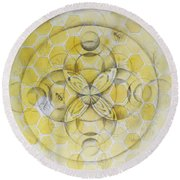 Honey Bee Mandala Round Beach Towel