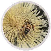 Honey Bee Meets Dandy Lion Round Beach Towel
