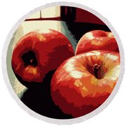 Honey Crisp Apples Round Beach Towel