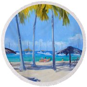 Honey Moon Beach Day Round Beach Towel