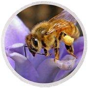Honeybee On Hyacinth Round Beach Towel