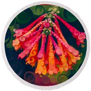 Honeysuckle Bloom In An Abstract Garden Painting Round Beach Towel