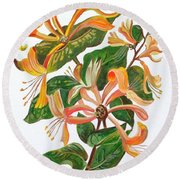 Honeysuckle Round Beach Towel